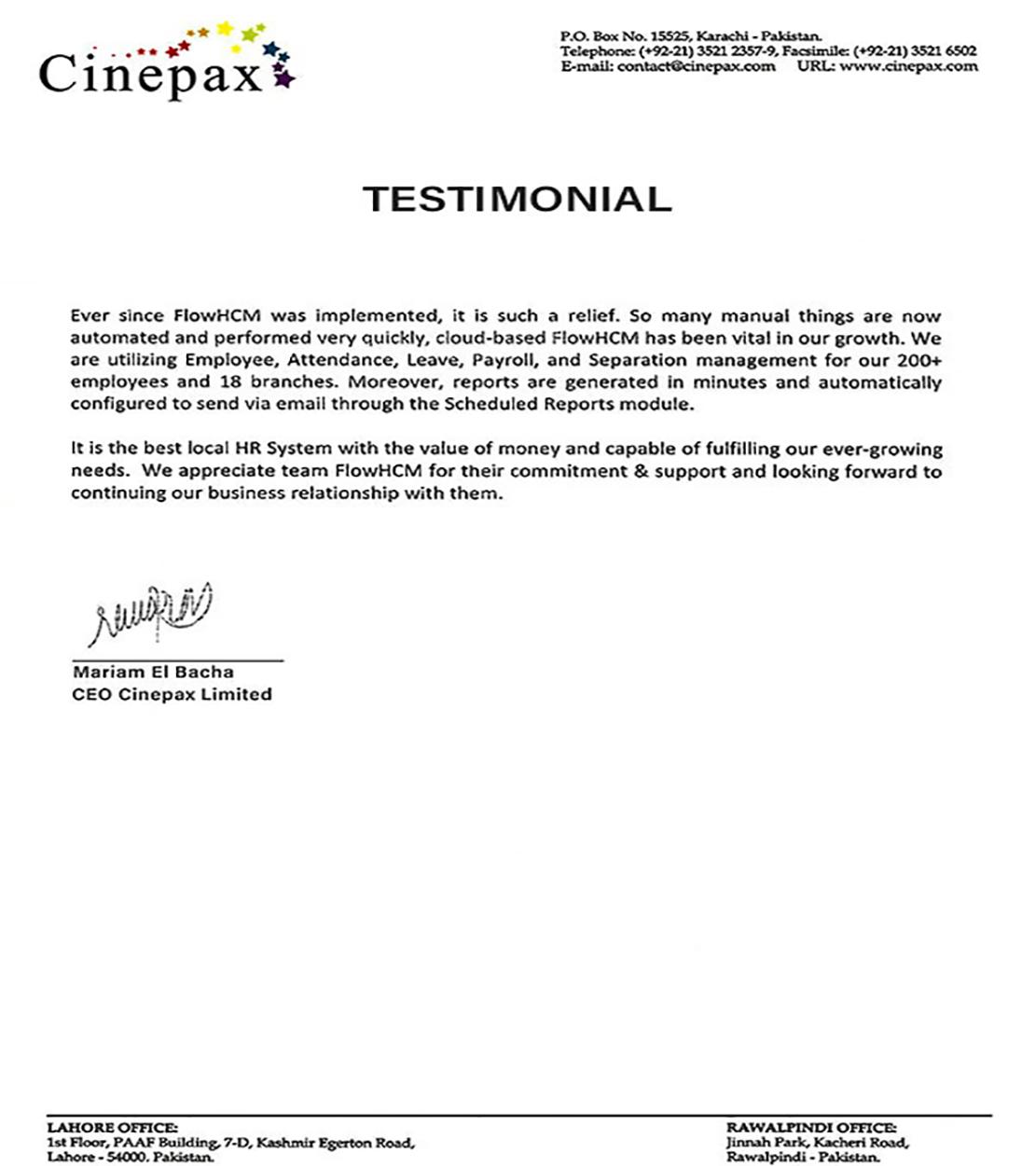 Cinepax Testimonial